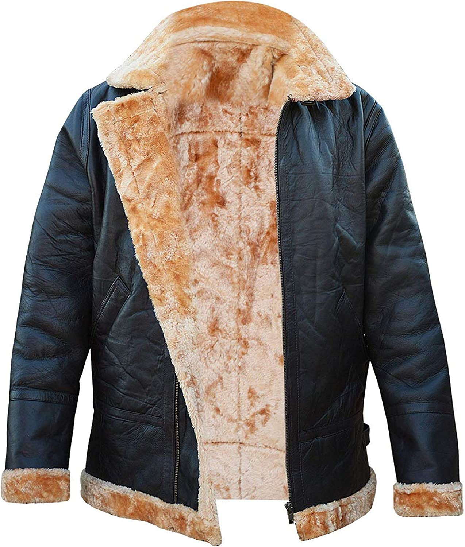 UGFashions Mens Aviator RAF B3 Bomber Flying Sheepskin Fur Shearling Brown Leather Jacket