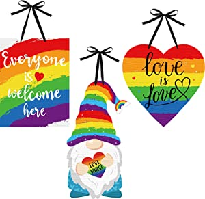 3 Pieces Rainbow Wood Hanging Sign Everyone is Welcome Here Sign Rainbow Gnome Decoration Love is Love Decorative Wood Sign Wall Door Decor for Home Decoration