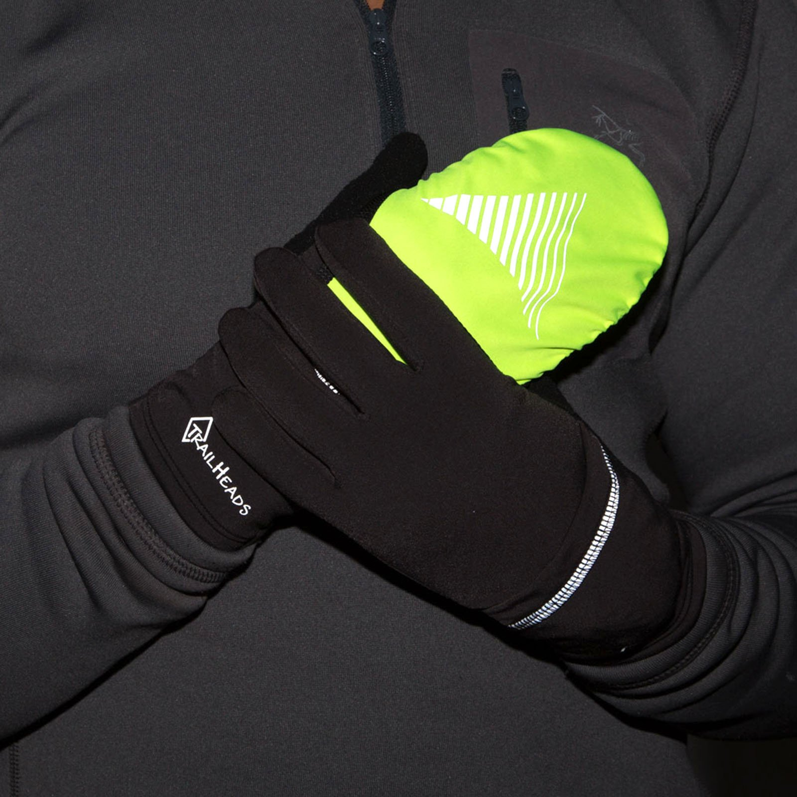 TrailHeads Convertible Running Gloves - black/hi-vis (small/medium) by TrailHeads (Image #4)