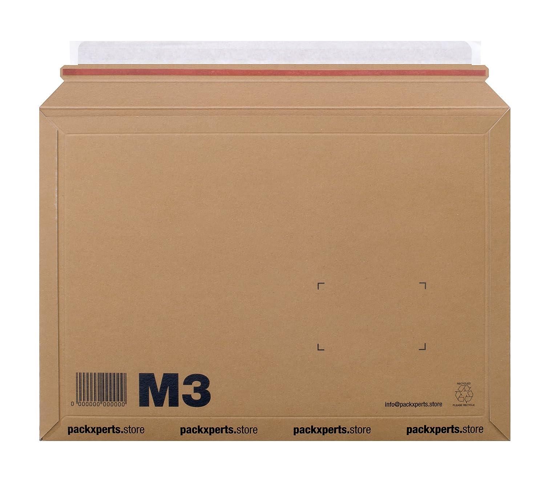 235x180 mm Packxperts Versandtasche aus Karton selbstklebend mit Abrei/ßstreifen braun 50er Pack