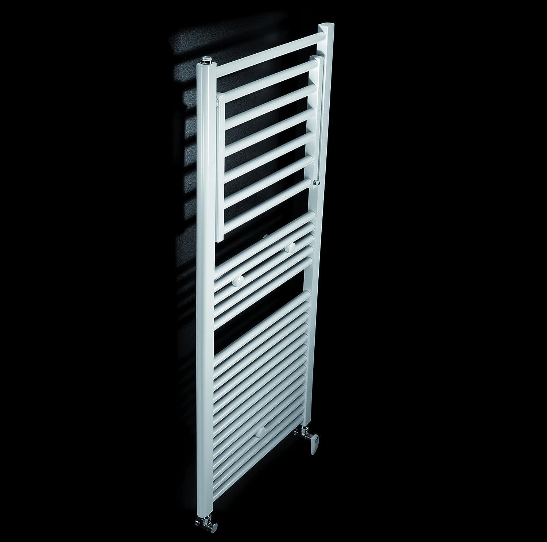 Koh-I-Noor 44020B - Radiador de agua, calienta toallas y secador de ropa con 1 estante de difusor extensible MOBILE Hidráulico. Acabado blanco.