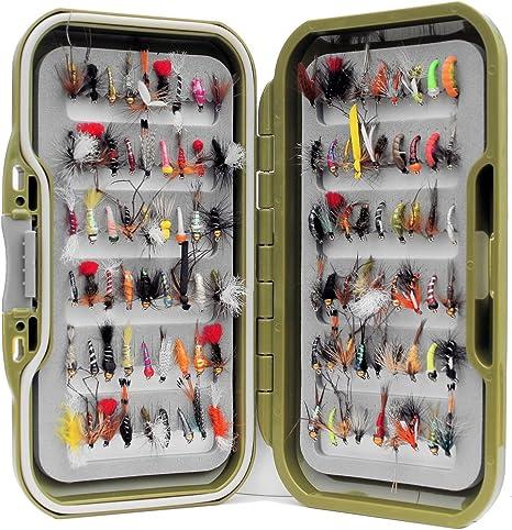 Lakeland Fishing Supplies Caja de Moscas Impermeable 25 o 50 Moscas para Pesca de Trucha 10