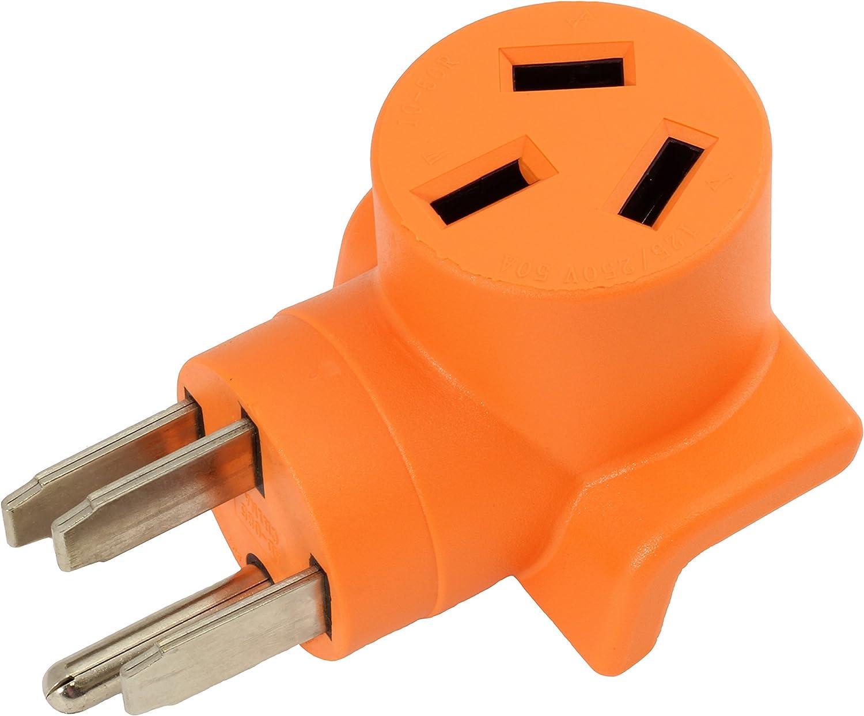 AC WORKS [WD14501050] 10-50 Welder Adapter NEMA 14-50P 50Amp RV/Range/Generator Male Plug to 10-50R Welder outlet Adapter