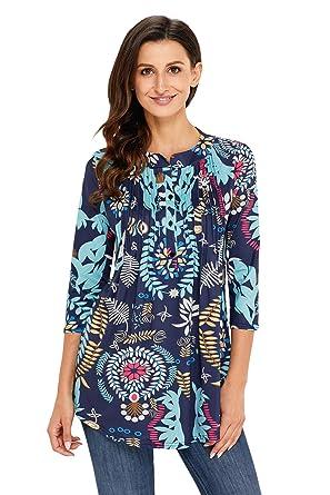 Dokotoo Femme T-shirt Manche 3 4 Imprime Fleur Tunique Lache Blouse Femme  et Top 57b1ae8d0cea
