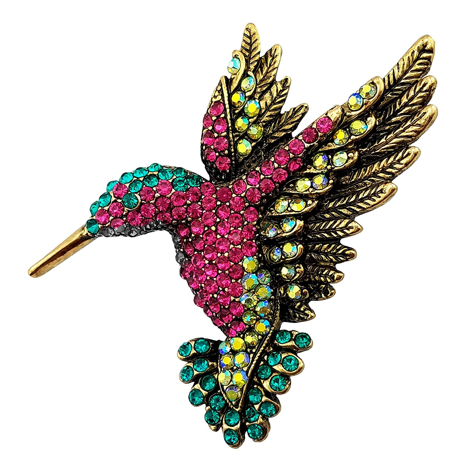 SELOVO Antique Gold Tone Bird Hummingbird Multi Color Austrian Crystal Pin Brooch Hong Yi Co. Ltd. XH021