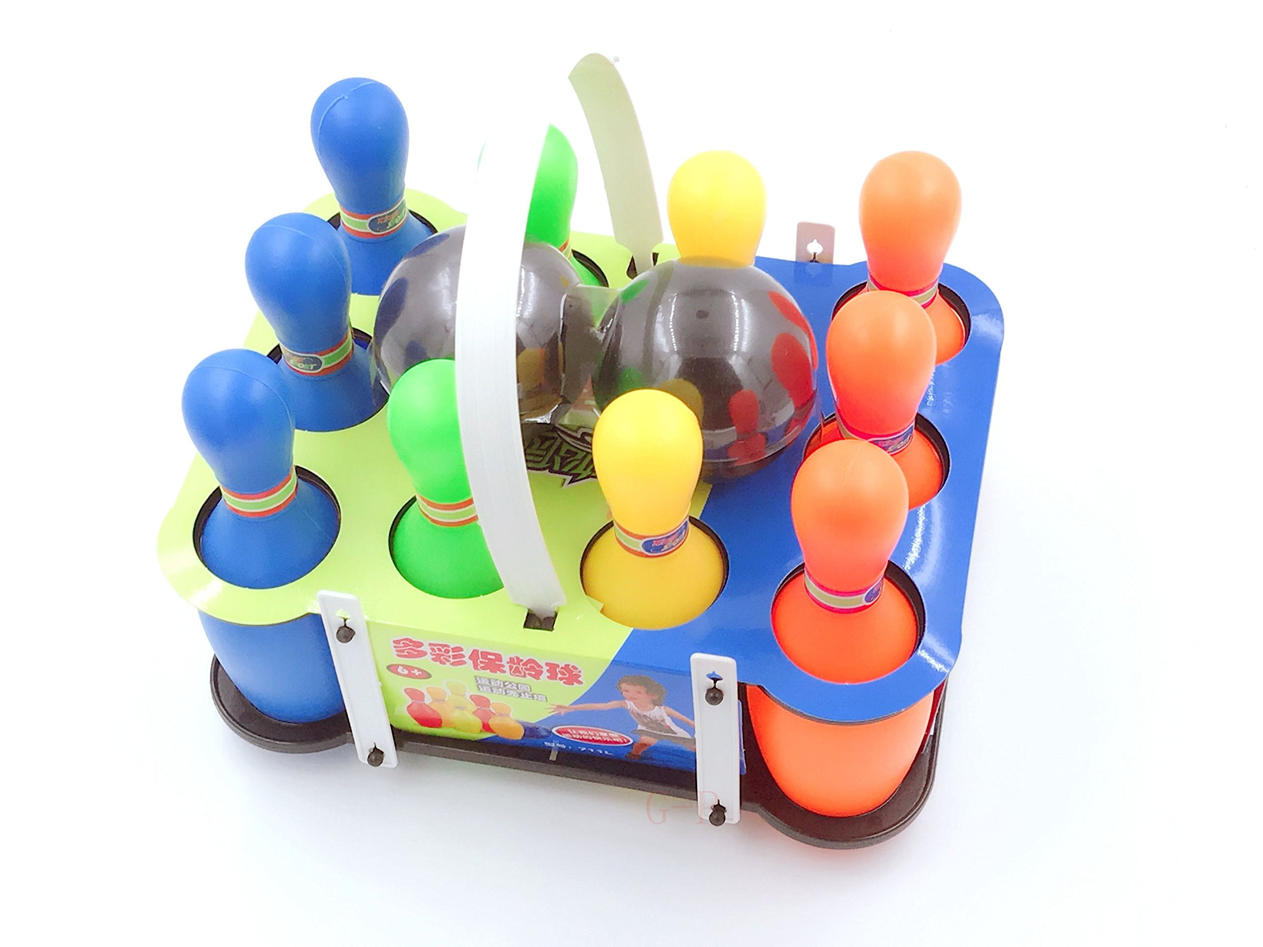 Xing-Rui 10 Pin Multi-Color Deluxe Plastic Bowling Set for Kids with Storage Rack - 12 Pieces Total (10 Pins & 2 Bowling Balls)