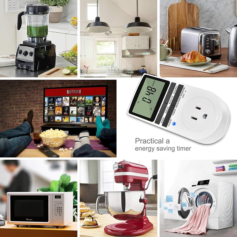 Random digital 24 Hours Timer Outlet. DST Electrical Plug-in Programmable Wall Timer Summer Time Winshine Light Kitchen Timer Switch Outlets