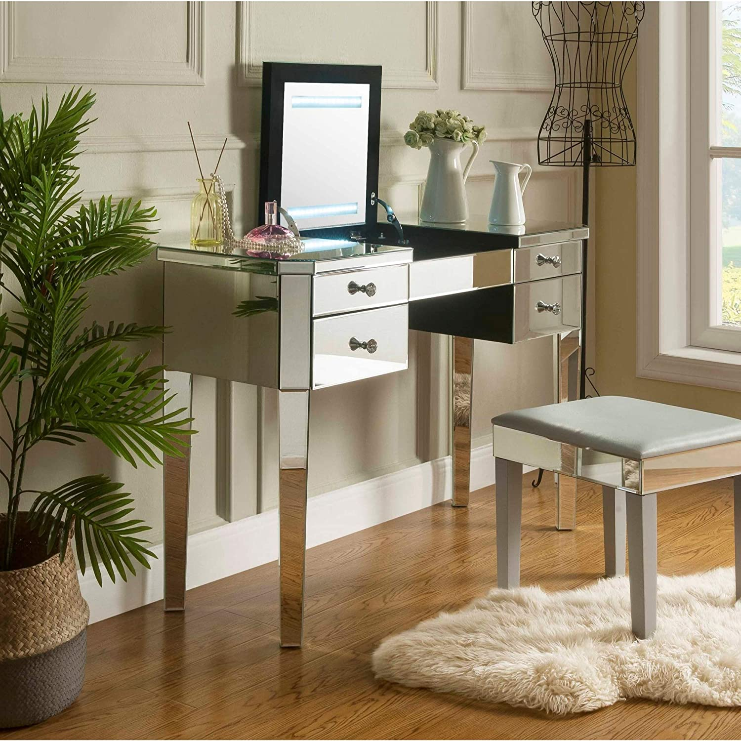 Inspired Home Juliet Modern Contemporary Mirrored 2-Drawer Vanity Table with Stool Set Black