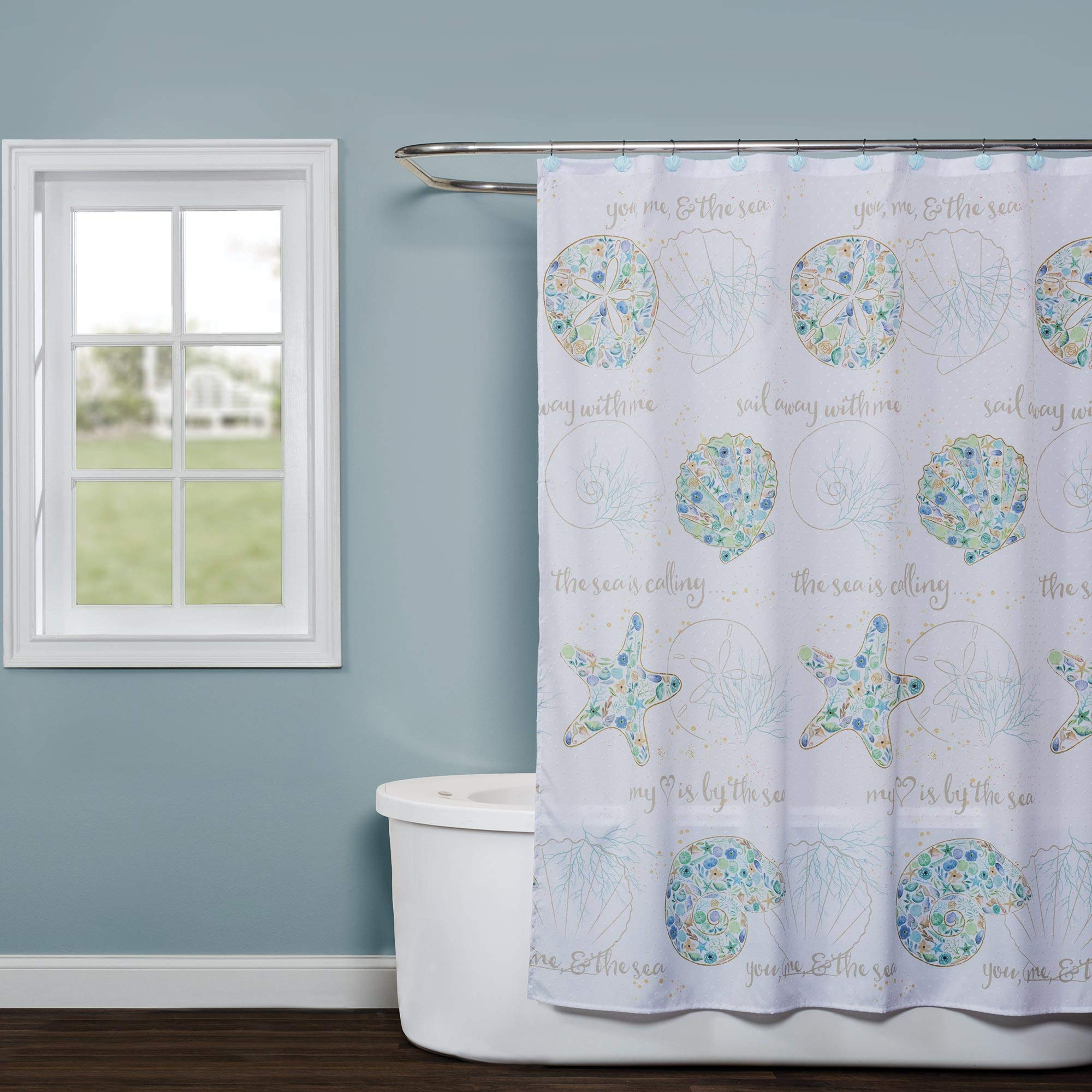 SKL Home by Saturday Knight Ltd. Seaside Blossoms Shower Curtain, White by SKL Home by Saturday Knight Ltd. (Image #1)