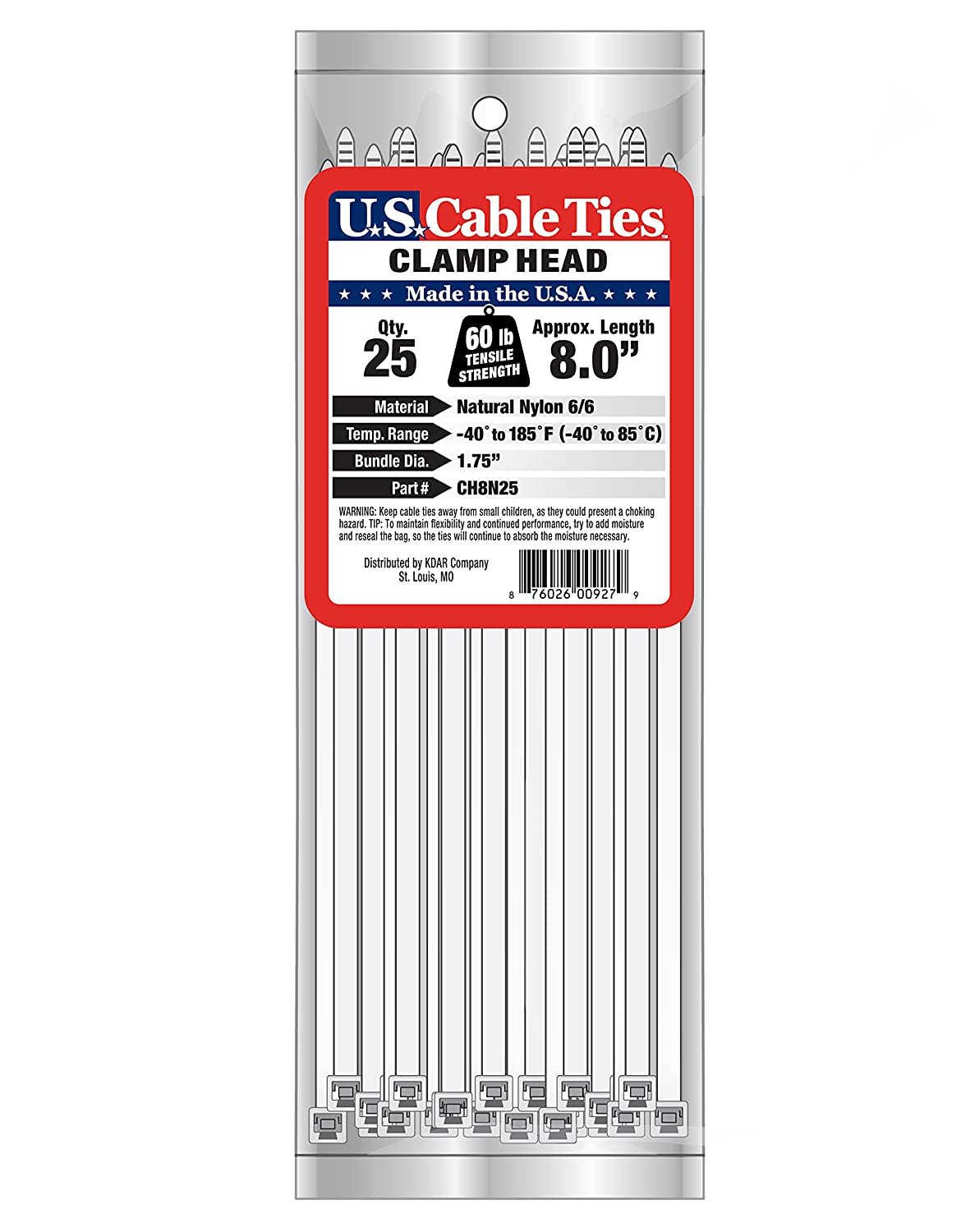 US Cable Ties CH8N25 8 Inch Clamp Head Ties Natural 25 Pack