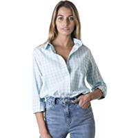 CAMIXA Women's Gingham Checkered Casual Button-Down Shirt Go Preppy