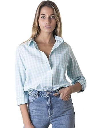 e9f4e320330e2f CAMIXA Women s Gingham Shirt Checkered Casual Long Sleeve Button Down Plaid  Top XS Aqua