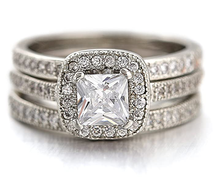 White Gold Plated Women/'s CZ Princess Cut Pave Eternity Wedding Band Ring 4-10