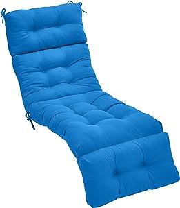 AmazonBasics Tufted Outdoor Lounger Patio Cushion - Blue