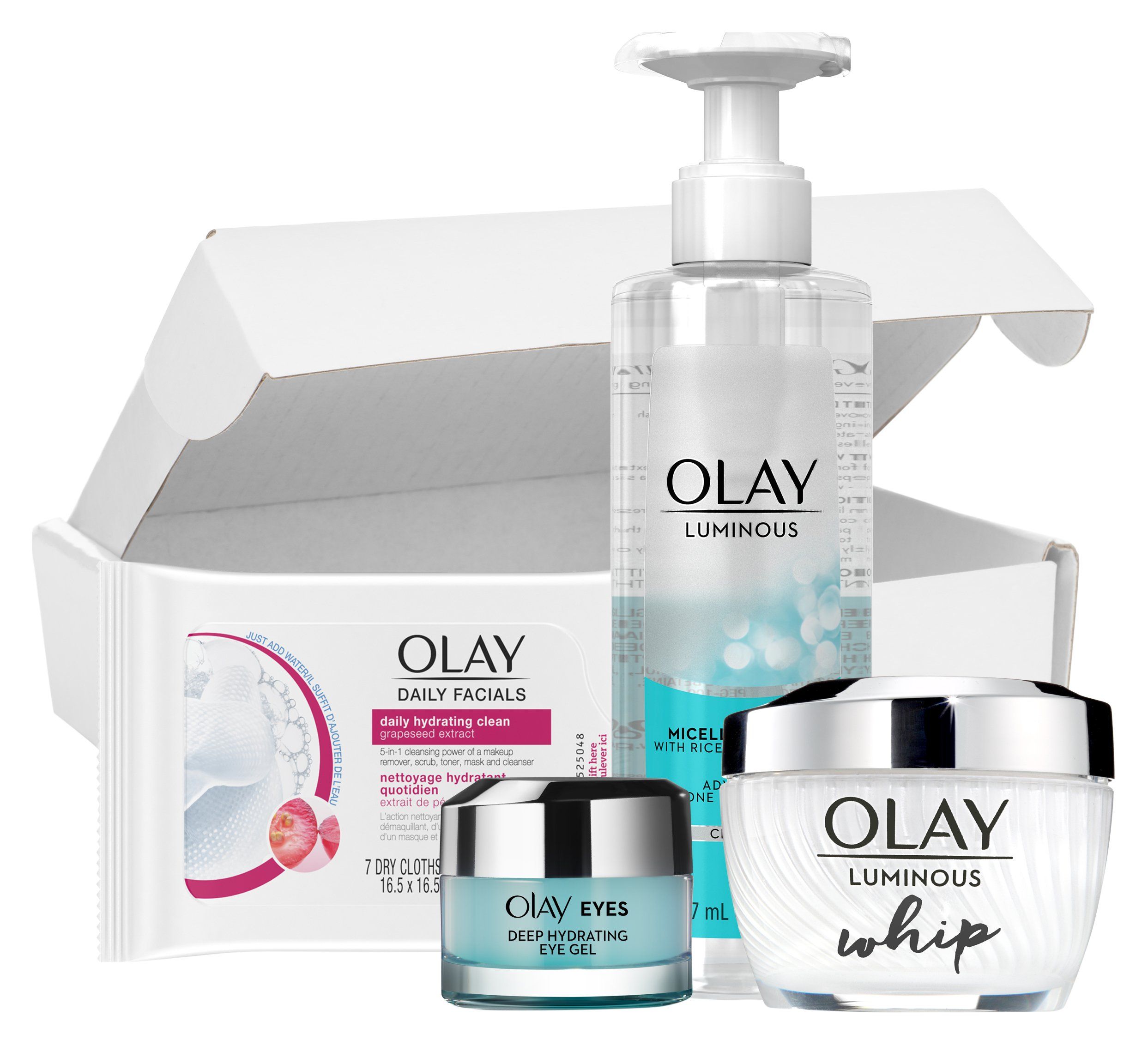 SkinCare Kit by Olay Luminous Daily Glow Regimen Kit, Cleanser + Whip Moisturizer + Eye Gel + Bonus Wipes by Olay