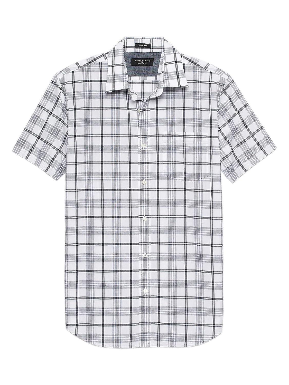 Banana Republic Mens Slim-Fit Soft Wash Short Sleeve Button Down Shirt White Grey Plaid