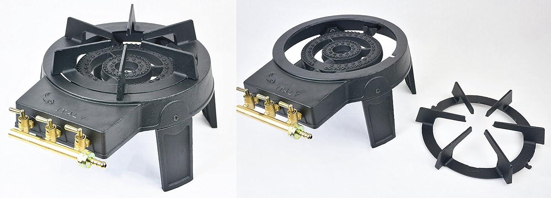 Hornillo de hierro fundido, con 3 llaves, 5.6 KW, con gas en botella, de doble quemador