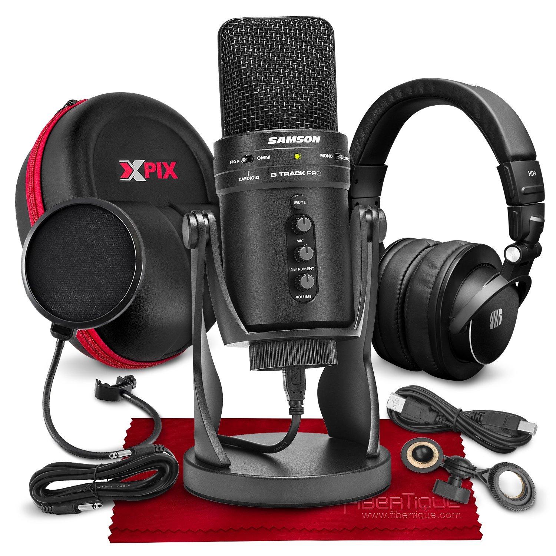 Samson G-Track Pro Micrófono de condensador USB profesional con interfaz de audio incluido con auriculares PreSonus HD9