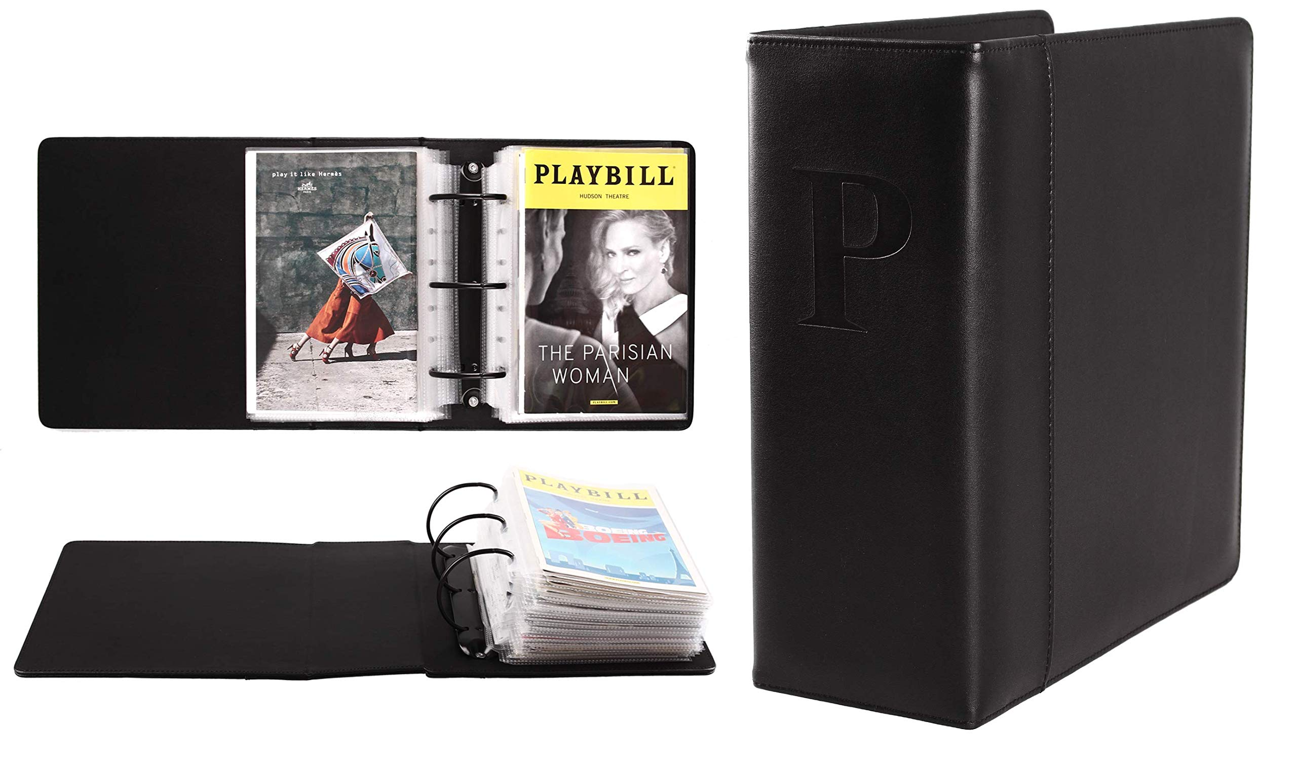 Broadway Play Program and Theater Playbill Binder with 30 Custom Sheet Protectors - PU Leather - Fits Playbills from Mid 1980s to Modern (Black EmbossedP)