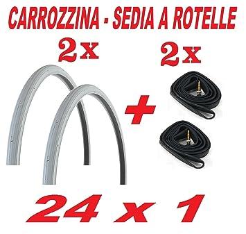 2 Neumáticos neumáticos neumáticos Cámara de aire 2 x 24 x 1,0-carrito, silla de ruedas: Amazon.es: Deportes y aire libre