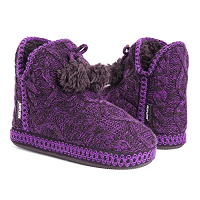 MUK LUKS Women's Amira Slipper Purple Knit Medium (7-8) | Ankle & Bootie
