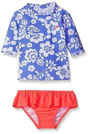 a46f8b260c Amazon.com: Carter's Little Girls' Floral Short Sleeve Rash Guard ...