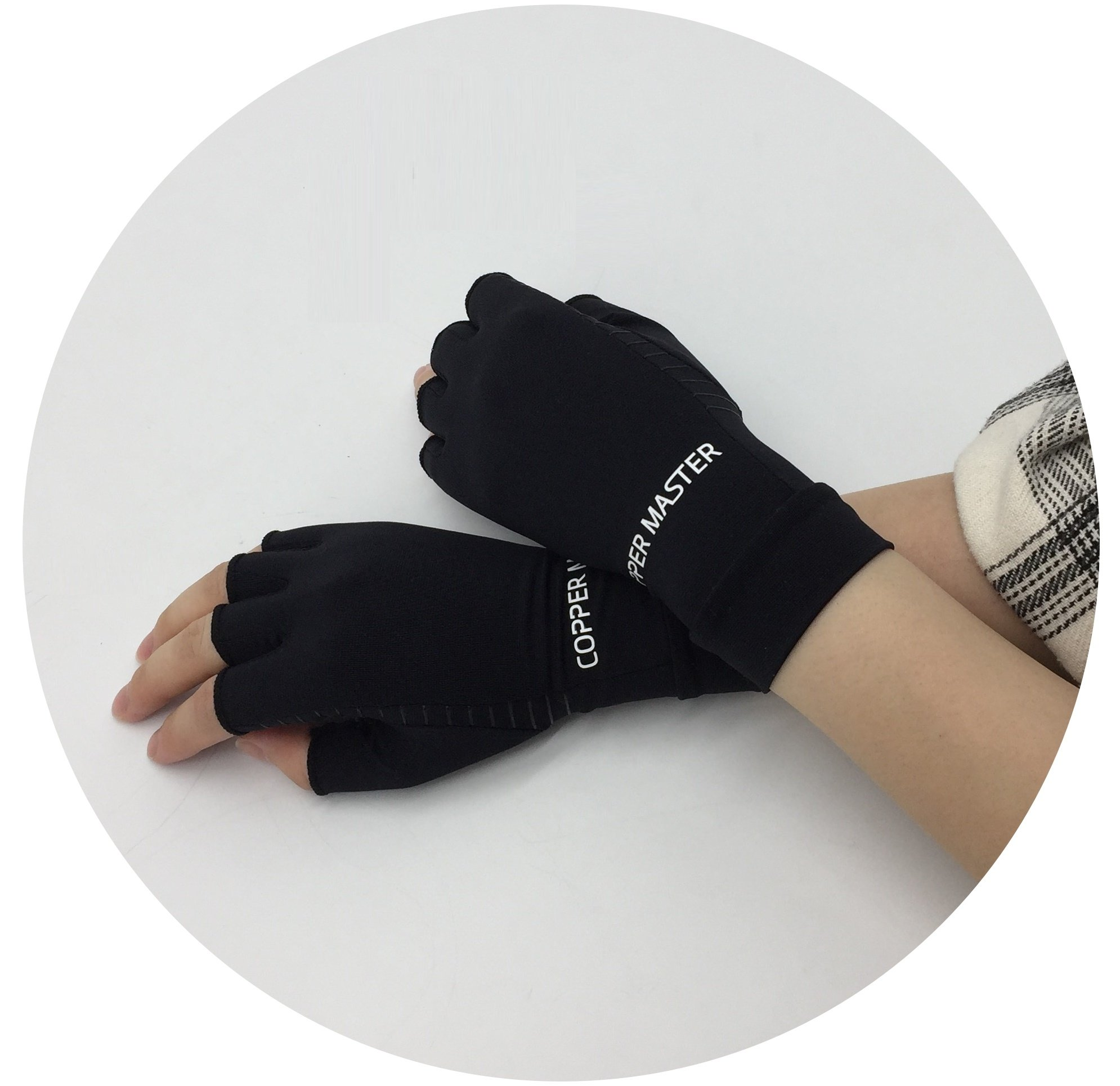 Arthritis Gloves Women- Copper Gloves For Men- Compression Gloves Recovery & Relieve For Arthritis, RSI, Carpal Tunnel, Swollen Hands, Tendonitis, Everyday Support & More- Fingerless Gloves/ Black/ L by Highcamp (Image #9)