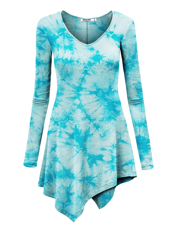 e77257ebf1f LL Womens Long Sleeve Handkerchief Hem Tie Dye/Ombre Tunics - Made in USA  at Amazon Women's Clothing store: