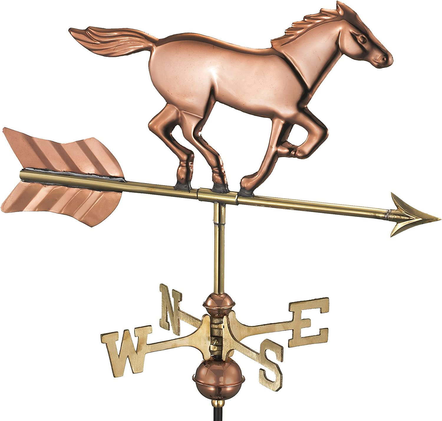 Good Directions 801PG Horse Garden Weathervane, Polished Copper with Garden Pole