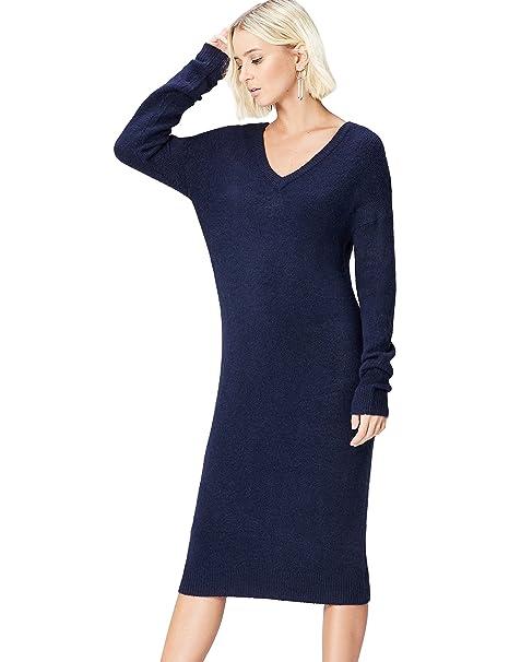 12a68f6523e3 FIND Vestito in Maglia Relaxed Fit Donna  Amazon.it  Abbigliamento