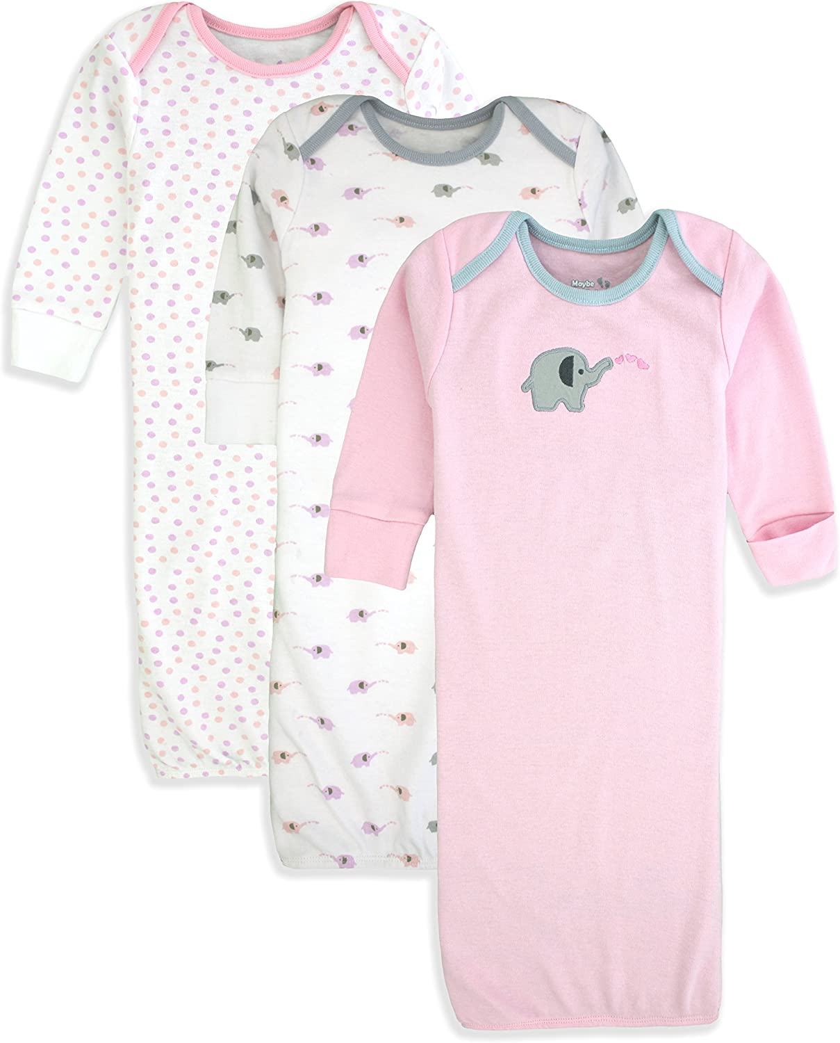 0-6 Months Maybe Baby Kids Infant Boys and Girls 3 Pack Set Cotton Baby Nightgowns w//Mitten Cuffs