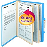 "Smead Classification File Folder, 2 Dividers, 2"" Expansion, Letter Size, Blue, 10 per Box (14001)"