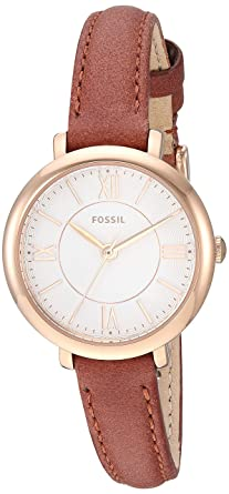 a3d8166c9 Fossil Women's Jacqueline Stainless Steel Quartz Leather Strap, Brown, 10  Casual Watch (Model