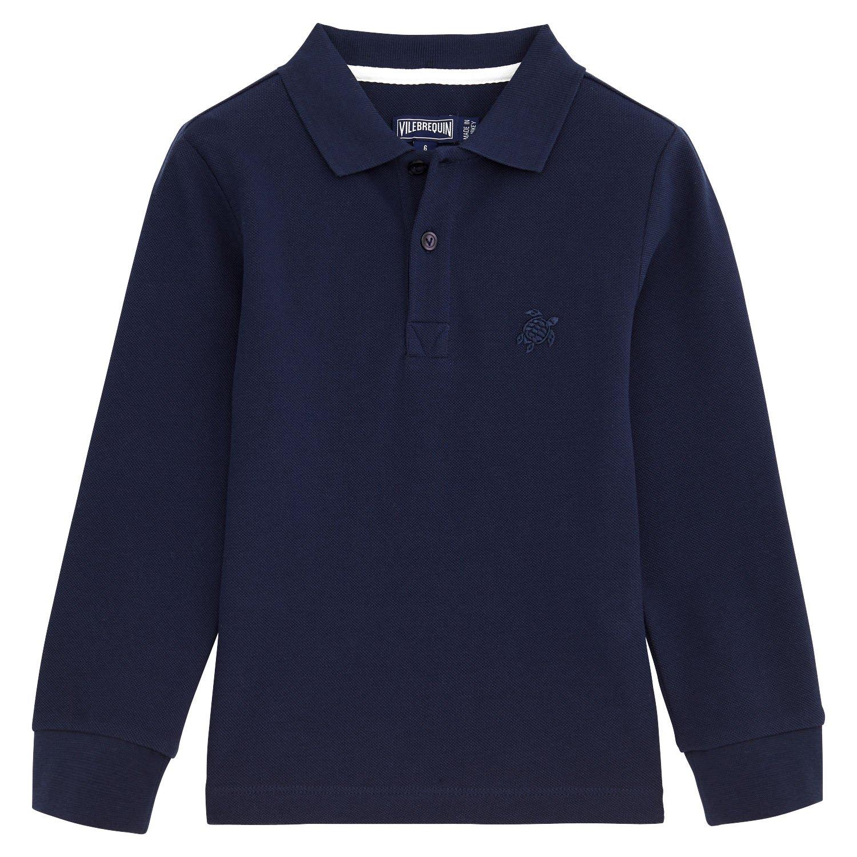 Vilebrequin Solid Long Sleeves Cotton Pique Polo - Boys - Navy - 14
