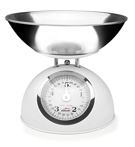 Lacor - 61714 - Bascula Cocina Retro de Acero 5kg - Rojo