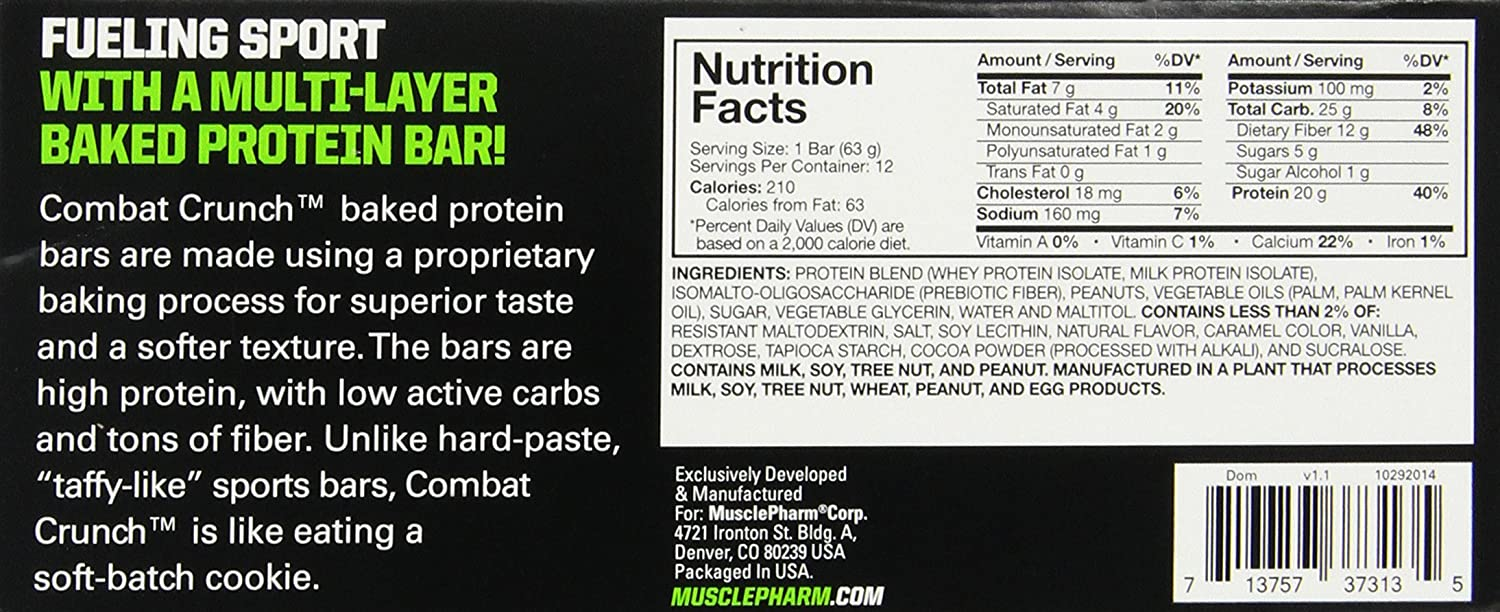 Amazon.com: MusclePharm Combat Crunch Protein Bar, Chocolate ...