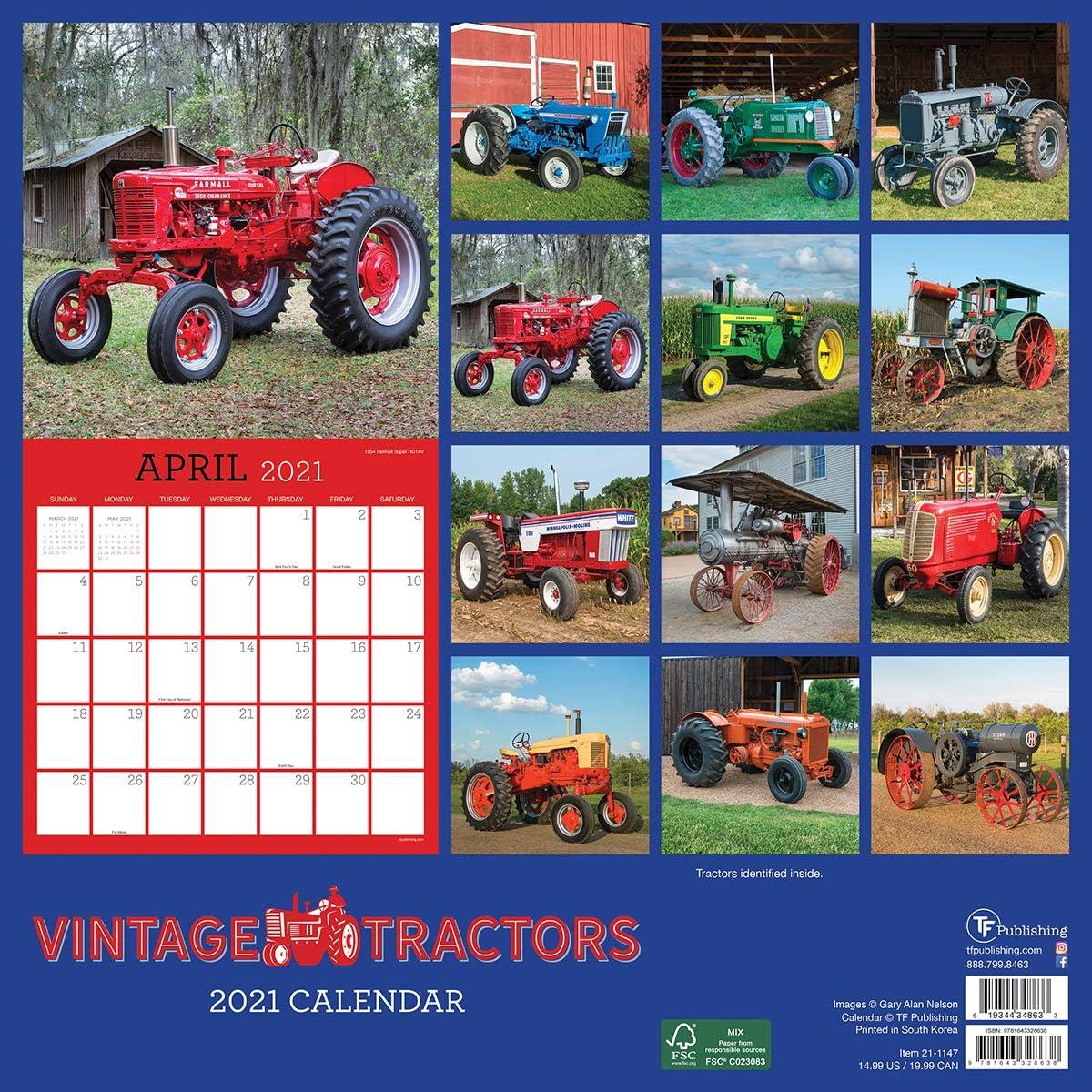 Vintage Tractors Wall Calendar 2021 by Carousel Calendars 210215