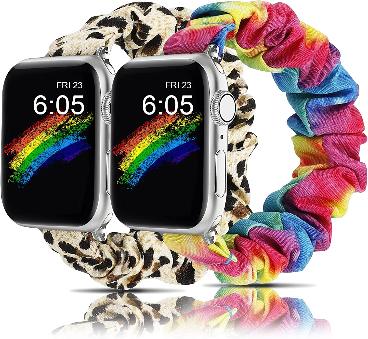 Wearlizer 2 Packs Compatible with scrunchies apple watch band 38mm 40mm 42mm 44mm cute Pattern Printed Fabric Replacement women Elastic Stretchy Scrunchy Band for iWatch Series 6 5 4 3 2 1 SE