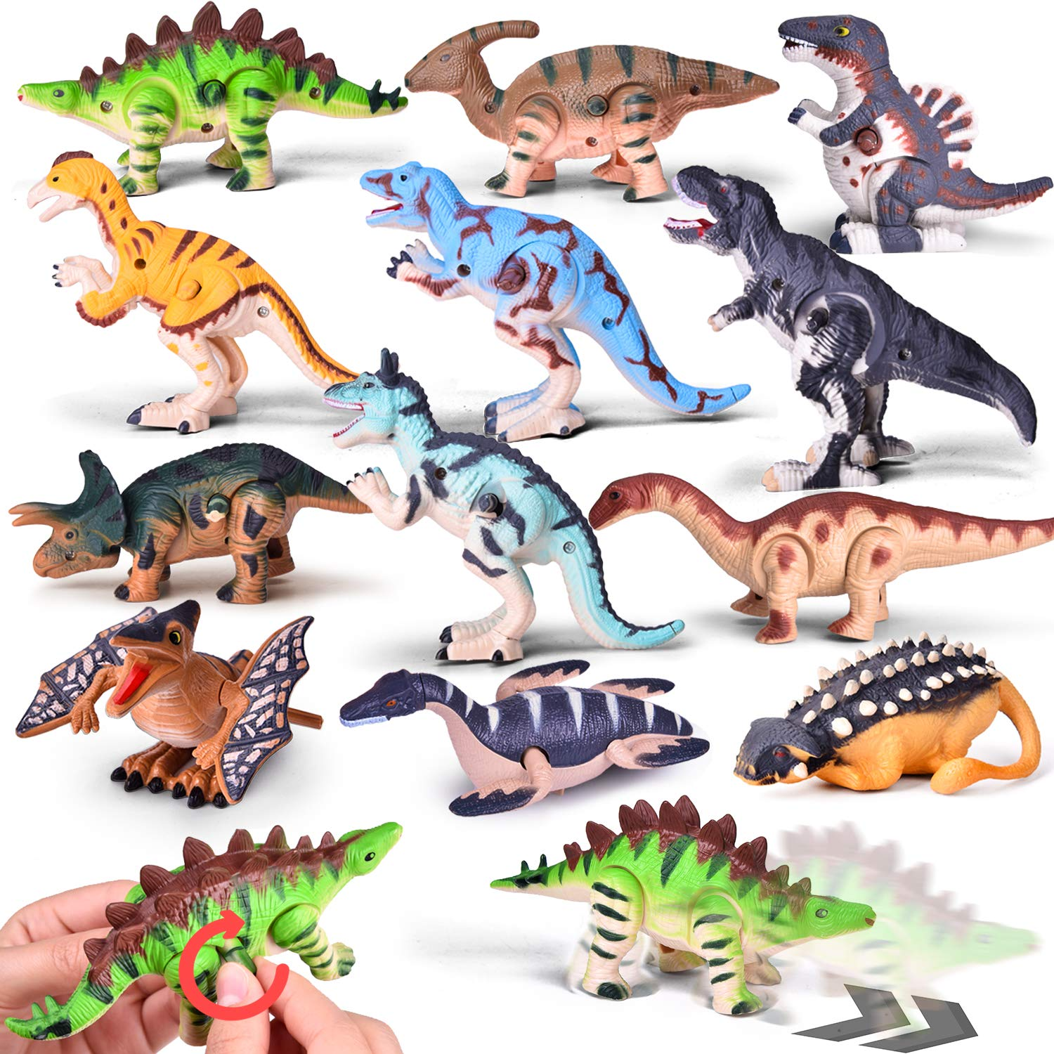 Wind Up Toys 12 PCs Assorted Dinosaur Toys for Goodie Bags, Carnival Prizes, Party Favors for Kids by FUN LITTLE TOYS