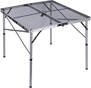 REDCAMP Folding Portable Grill Table for Camping, Lightweight Aluminum Metal Grill Stand Table for Outside Cooking Outdoor BBQ RV Picnic, Easy to Assemble with Adjustable Height Legs, Silver/Champagne
