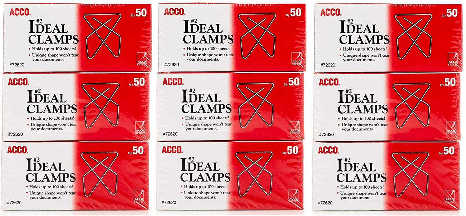 Smooth 50//Box A7072643 3-Pack 150 Clamps Total Small 2 Size ACCO Ideal Paper Clamp//Butterfly Clamp