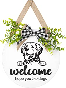 Dahey Rustic Welcome Sign with Artificial Eucalyptus Front Door Decor Round Wood Hanging Sign Golden Retriever ,Hope you like dogs Sign Farmhouse Porch Decorations for Home Outdoor Indoor, White