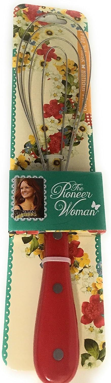 The Pioneer Woman Cowboy - Batidor de metal plano con mango rojo