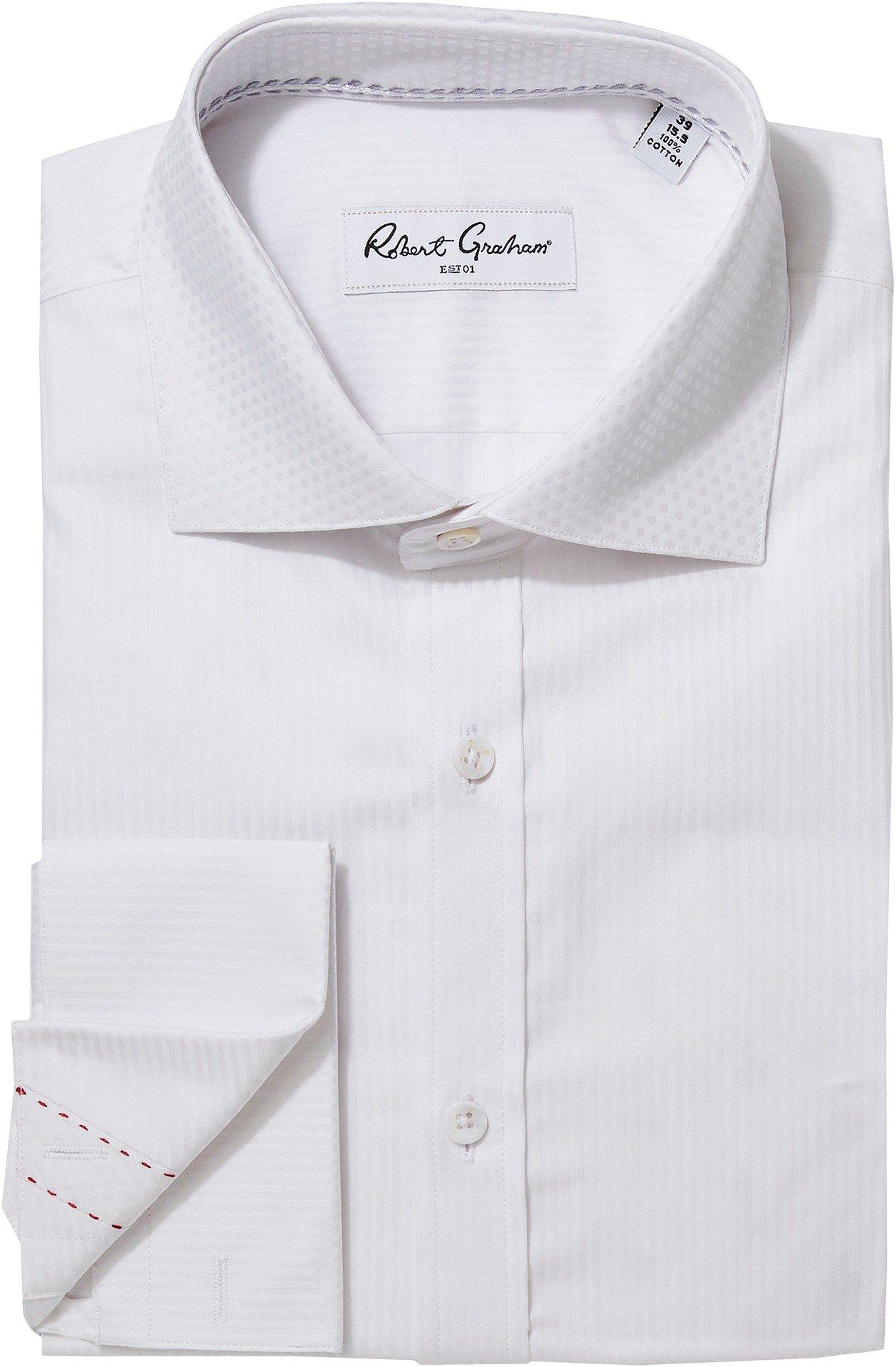 Robert Graham Men's Tux Vertical Stripe Dress Shirt White 16.5