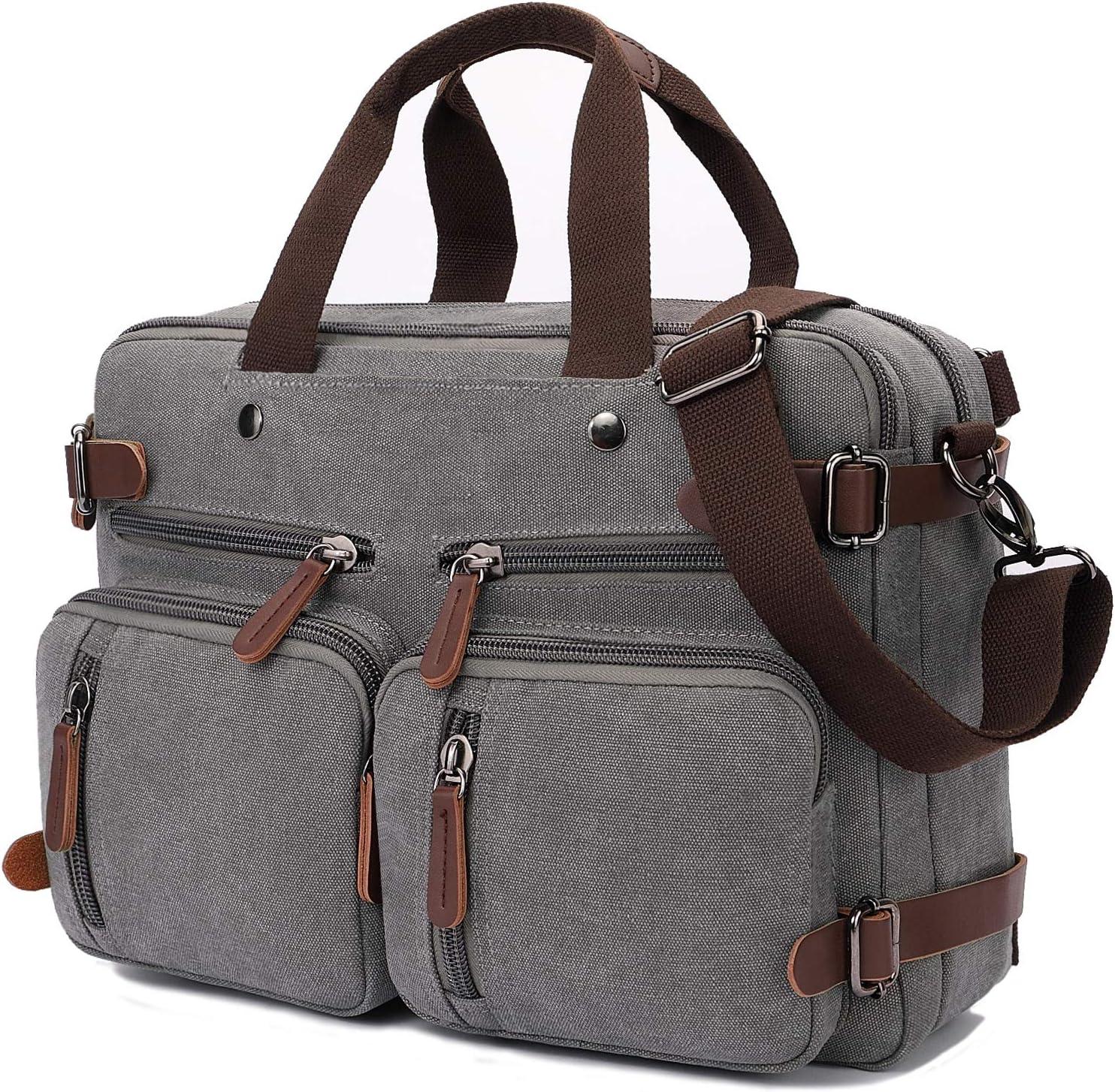 Convertible Laptop Backpack 15.6 Inch Messenger Bag for Men/Women (15.6 Inch, Grey)