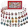 NorthPoleXpress Premium Mini Wooden Christmas Tree Ornaments - Set of 48 Ornament Figures Advent Calendar Stuffers Fillers -