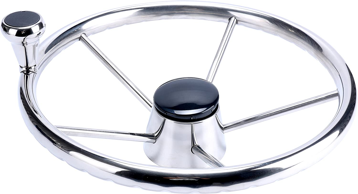 Amarine Made 5-Spoke 13-1/2 Inch Destroyer Style Stainless Boat Steering Wheel with Big Size Knob - XK-9310SRF1