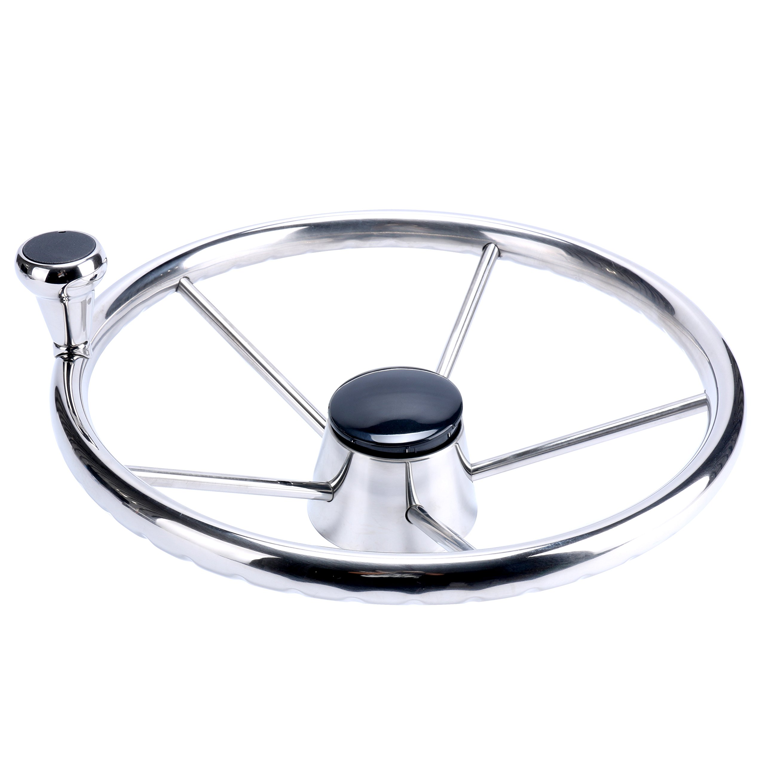 Amarine-made 5-Spoke 13-1/2 Inch Destroyer Style Stainless Boat Steering Wheel with Big Size Knob - XK-9310SRF1