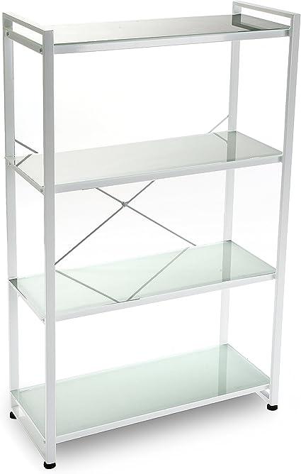Versa Estantería 4 Baldas, Metal, Blanco, 70x30x117 cm