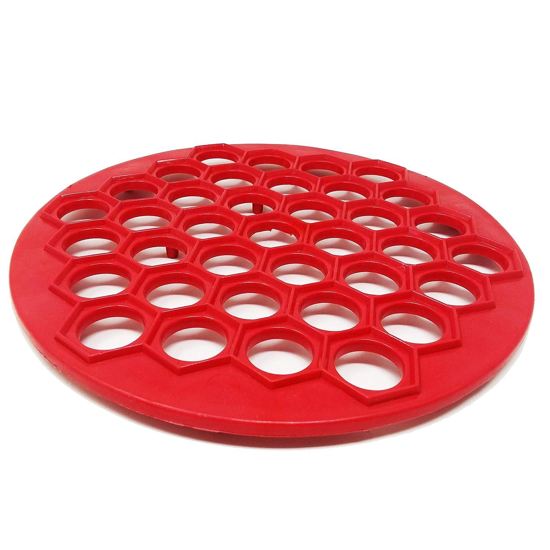 G/én/érique Round Plastic Ravioli and Russian Pelmenis Plate Red